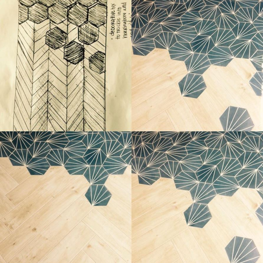 Tile to Wood Transition : Dandy Midnight Cement Tile