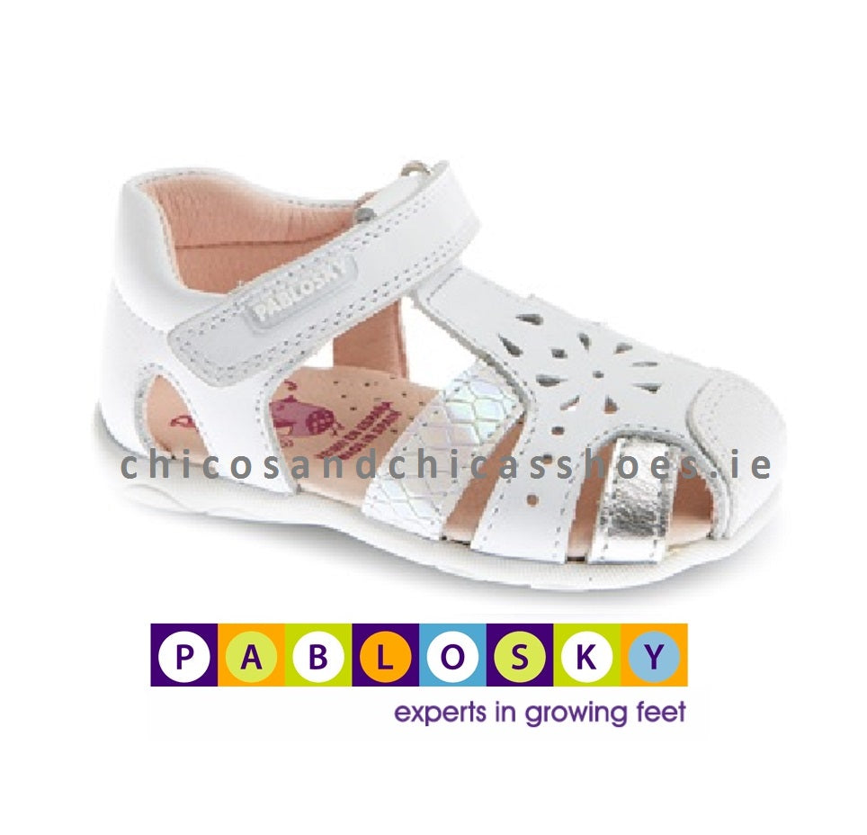 PABLOSKY GIRLS OPEN SHOES -073100-WHITE/SILVER