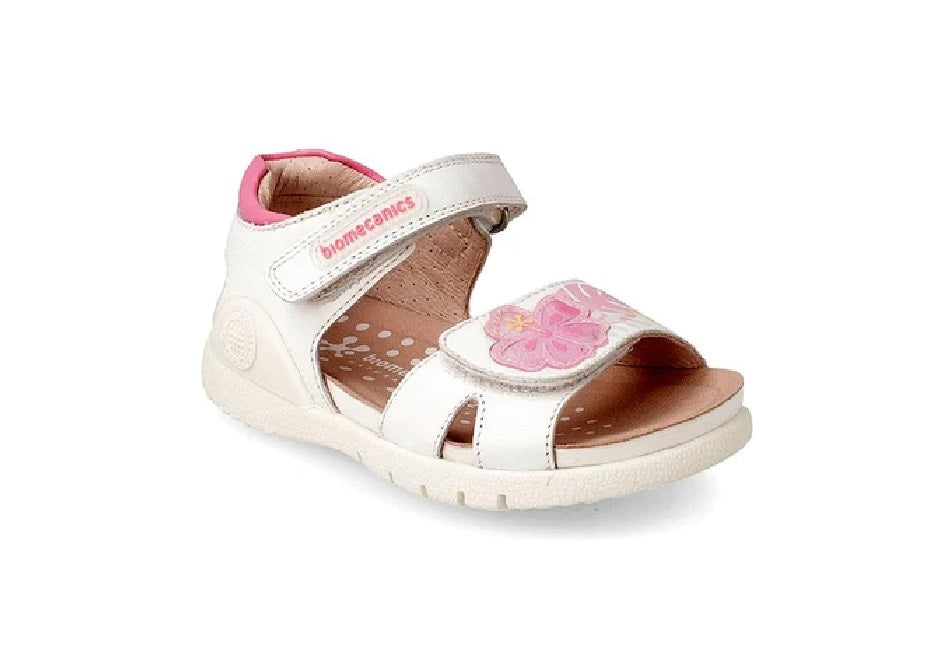 BIOMECANICS GIRLS SANDAL-192165A-WHITE FLOWERS