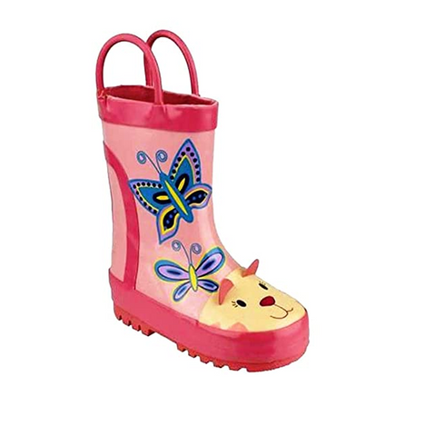 COSTWOLD-GIRLS WELLIES-CAT-PINK