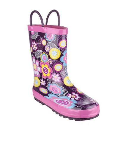 COSTWOLD-GIRLS WELLIES-FLOWER-PURPLE/PINK