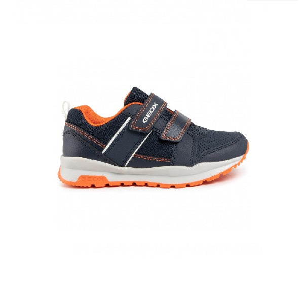GEOX BOYS RUNNERS-J CORIDAN-NAVY/ORANGE