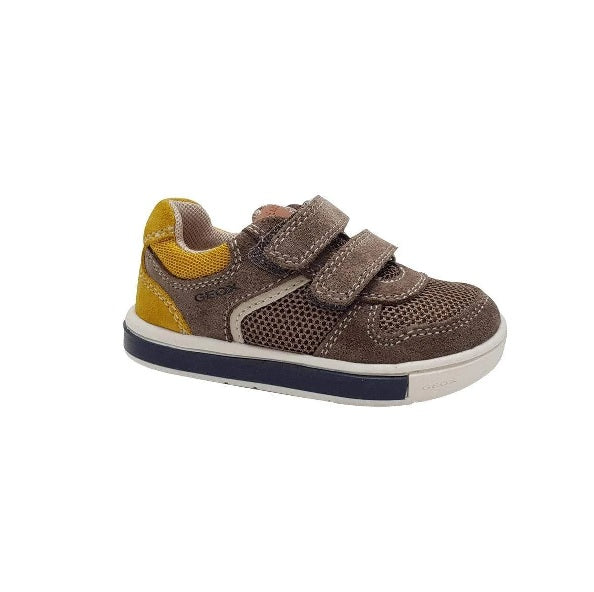 GEOX BOYS SHOES-B TROTTOLA-GREY/DK YELLOW