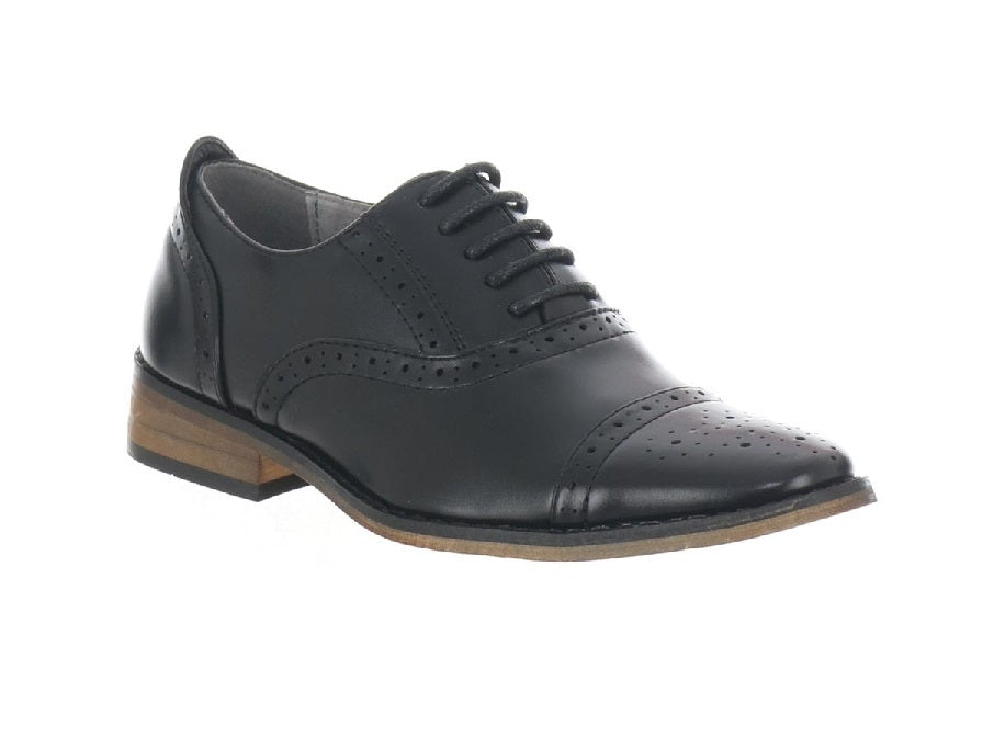 GOOR990-BOYS BROGUE LACE UP SHOE-BLACK