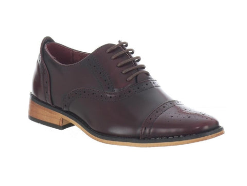 GOOR990-BOYS BROGUE LACE UP SHOE-OXBLOOD