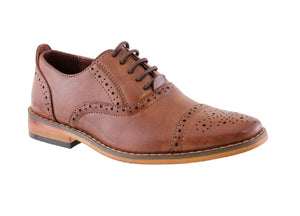 GOOR990-BOYS BROGUE LACE UP SHOE-BROWN