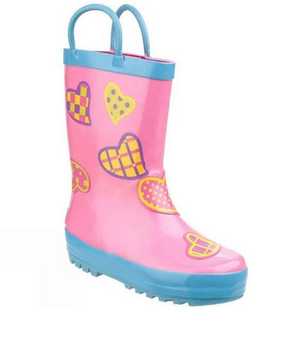 COSTWOLD-GIRLS WELLIES-HEARTS-PINK