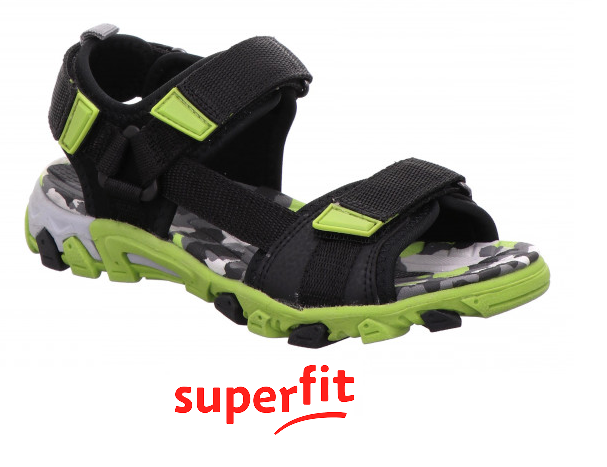 SUPERFIT JUNIOR BOYS SANDALS-HENRY-0/600101/0000-BLACK/GREEN