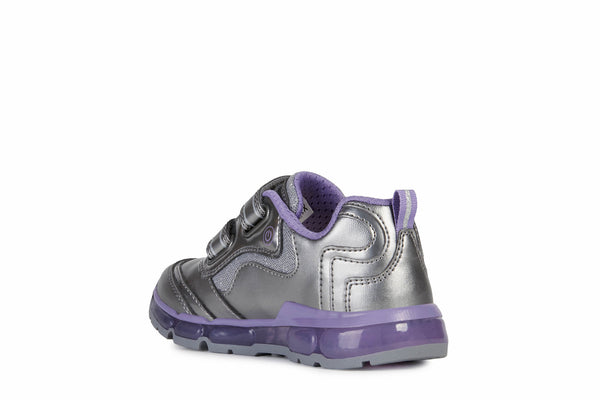 GEOX-GIRLS SNEAKERS-J ANDROID GIRL LIGHTS-DK SILVER/DK LILAC