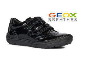 GEOX-J HADRIEL-DOUBLE VELCRO GIRLS SHOOL SHOE-BLACK PATENT