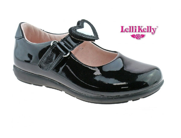 LELLY KELLY GIRLS SCHOOL SHOE-LK8440-INTERCHANGEABLE STRAPS-COLORISSIMA-BLACK PATENT