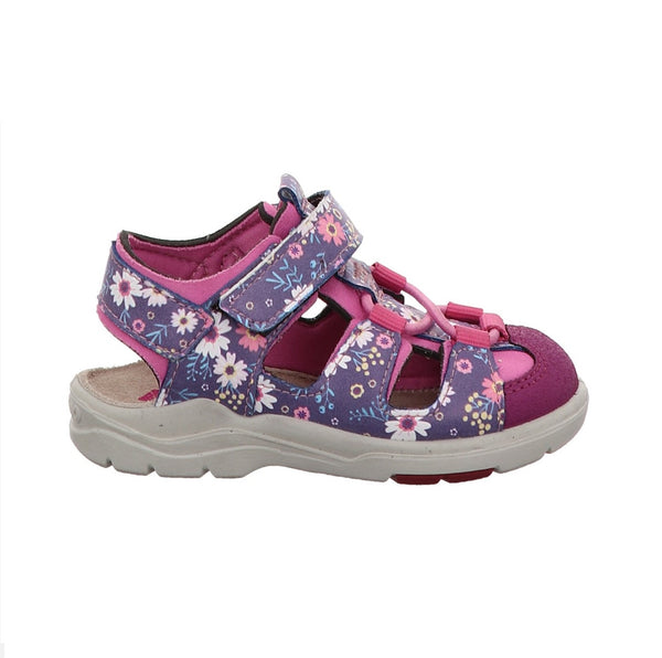 RICOSTA PEPINO GIRLS CLOSED TOE SANDAL-WATER FRIENDLY-GERY-PURPLE/PEONY