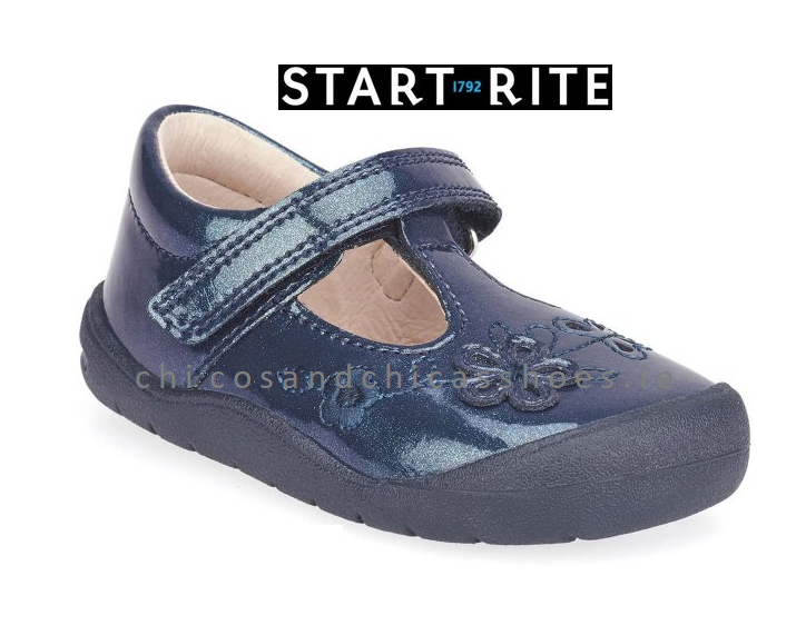 START-RITE TODDLERS GIRLS SHOES - FIRST MIA- 0743-9-NAVY GLITTER PATENT