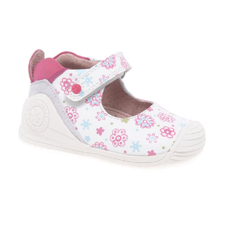 BIOMECANICS GIRLS SHOES-172134-WHITE FLOWER PRINT