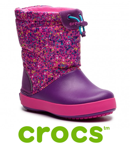 CROCS SNOW BOOT -LODGEPOINT GRAPHIC-NEON MAGEMTA/AMETHYST
