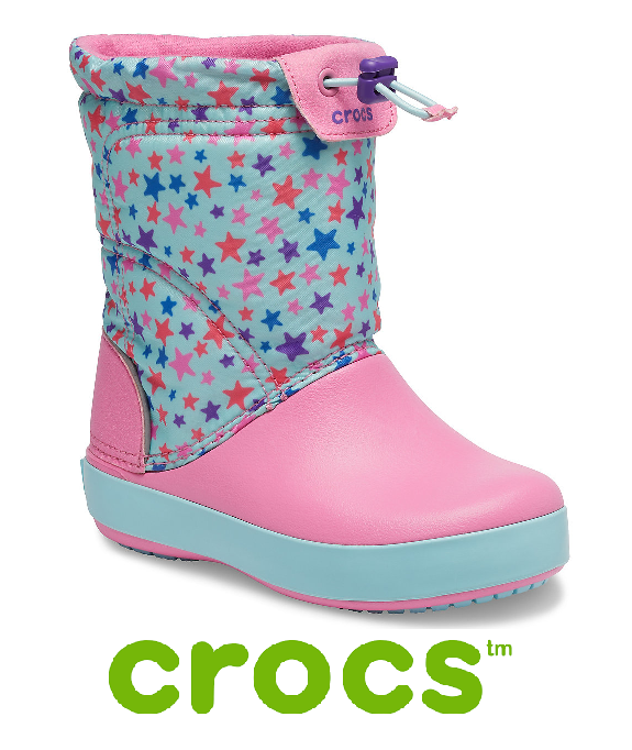 CROCS SNOW BOOT -LODGEPOINT GRAPHIC-BLUE/LEMON