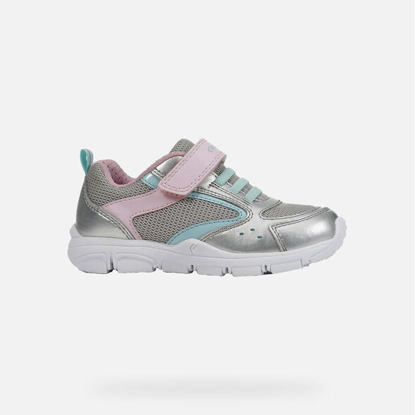 GEOX GIRLS RUNNERS-J NEW TORQUE-SILVER/PINK