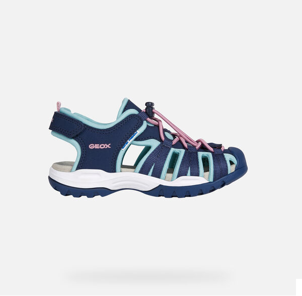 GEOX GIRLS CLOSED TOE SANDALS-J BOREALIS-NAVY/AQUA