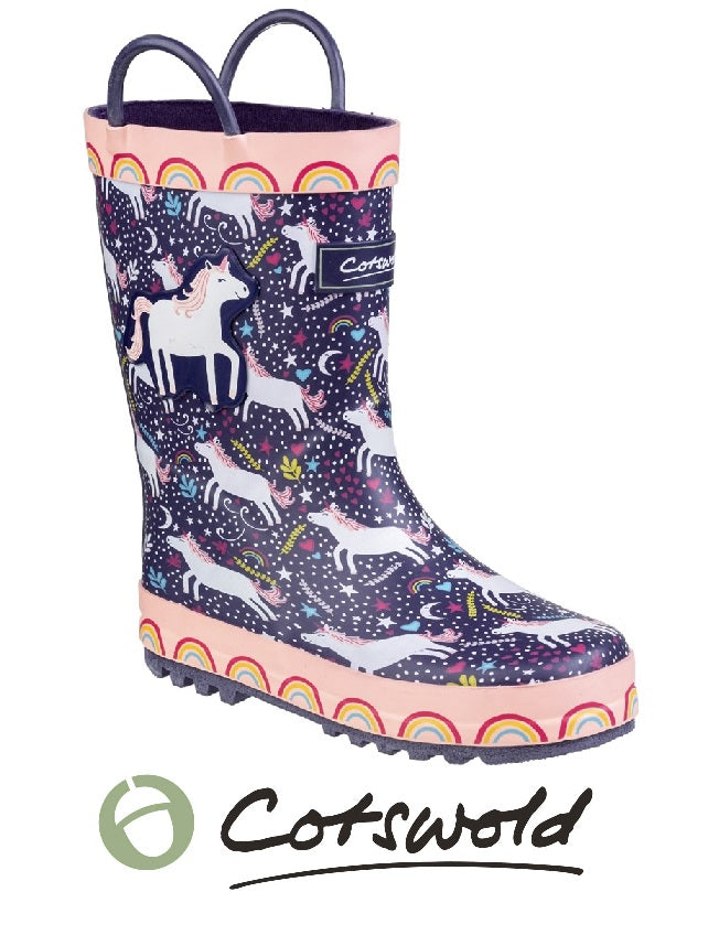 COTSWOLD-GIRLS WELLIES-WARM LINED-UNICORN