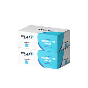 WELLAB 3 Ply Disposable Protective Mask Bundle 100pcs
