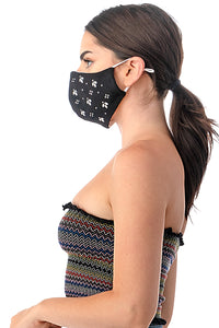 Patterned Rhinestone Face Mask - Masks Can Help
