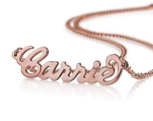 Rose gold name necklace spoiledrottyn for Rose gold personalized jewelry