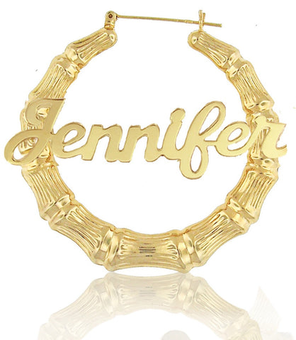 18k Gold Plated XL Hoop Name Earrings