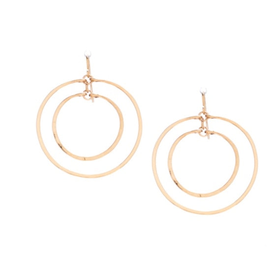Golden Age - Hammered double hoop earring with gold plate finish