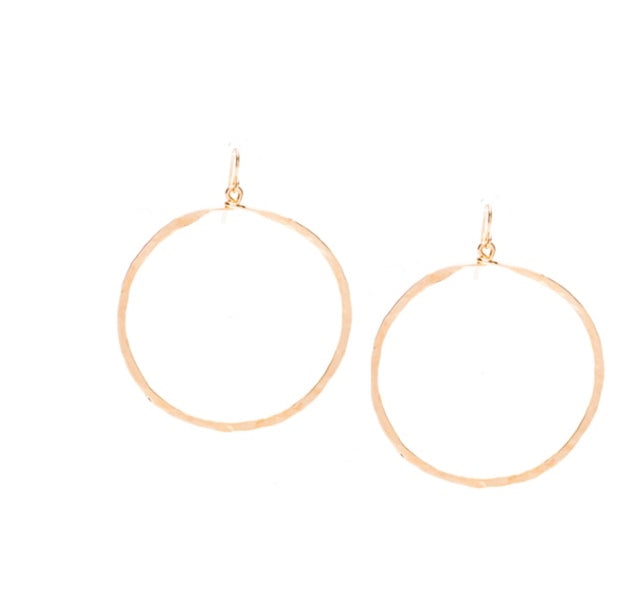 Golden Age hammered hoop earring with gold plate finish
