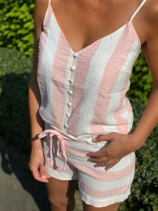 Heart Mind Top Pink Double Gaz Stripe C_Berry