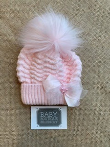 Ripples Pink Pom Bow Hat