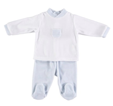 Babidu Blue Velour 2-Piece Pocket Set