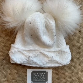 Crystals White Double Pom Hat