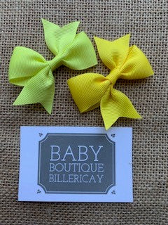 Bow Hair Clips Set x2 Yellow Shades