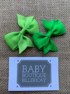 Bow Hair Clips Set x2 Green Shades