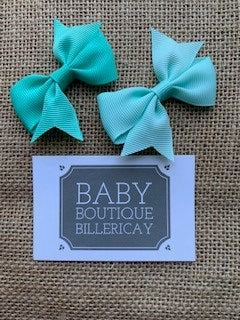 Bow Hair Clips Set x2 Teal Shades