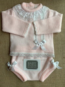 Little Nosh Pink Lace Knitted Set