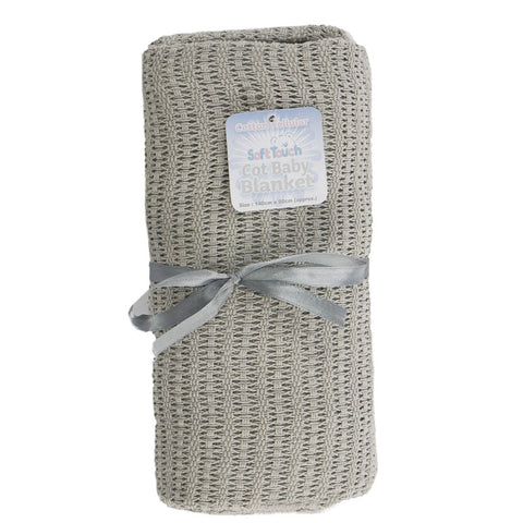 Grey Cotton Cellular Baby Blanket