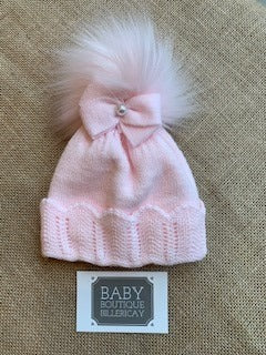 Sensation Pink Pom Hat with Pearl