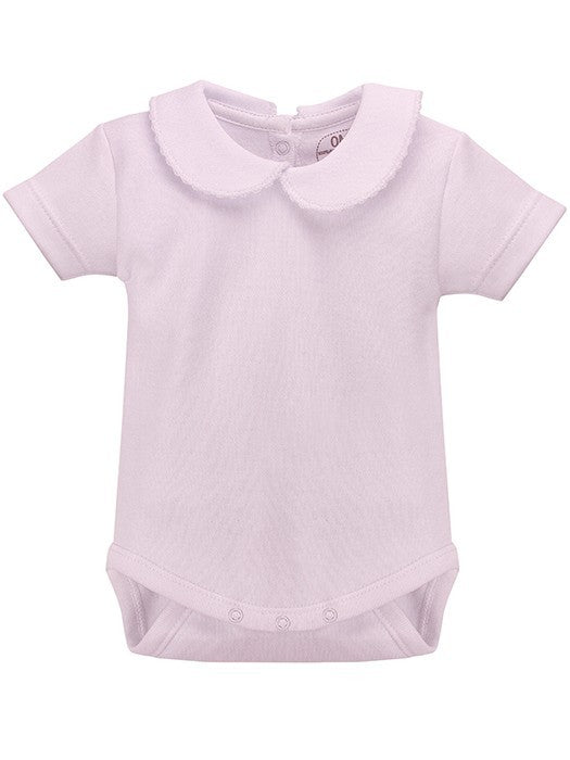 Rapife Pink Short Sleeve Peter Pan Collar Vest