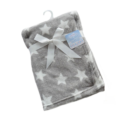 STFBP150-G grey star fleece blanket wrap