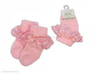 NT2169P nursery time pink frill lace cot