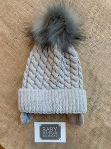 Prince Grey Fur Pom Hat