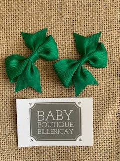 Bow Hair Clips Set x2 Dark Green