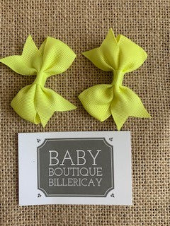 Bow Hair Clips Set x2 Pastel Yellow