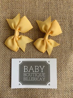 Bow Hair Clips Set x2 Golden Yellow