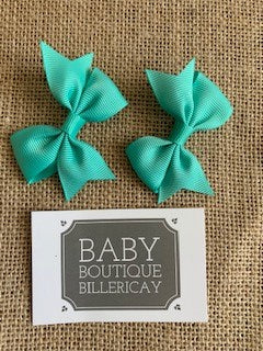 Bow Hair Clips Set x2 Teal