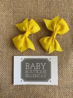 Bow Hair Clips Set x2 Bright Yellow