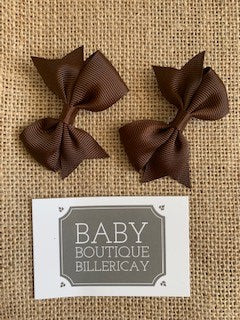 Bow Hair Clips Set x2 Brown