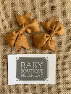 Bow Hair Clips Set x2 Caramel